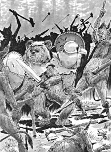 Ein Dulok (rechts) im Kampf mit Ewoks