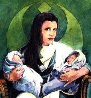 Die neugeborenen Zwillinge Jaina und Jacen in den Armen ihrer Mutter