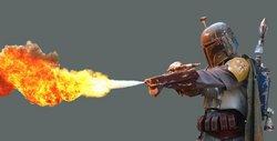 Boba Fett setzt seinen Czerka Arms-Flammenwerfer ein