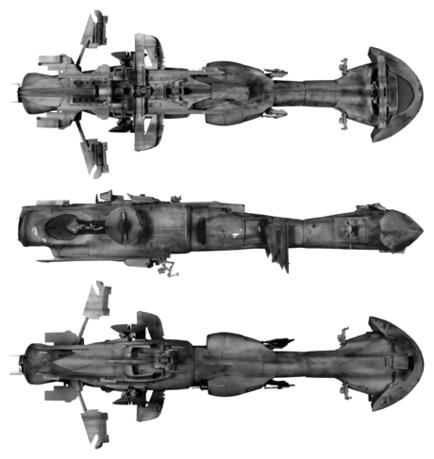 Verschiedene Ansichten eines dorneanischen Kanonenbootes