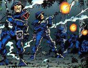 Mitglieder des Blitz-Batallions auf Vestar