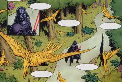 Darth Vader kurz bevor er das Vogelhaus niederbrennt