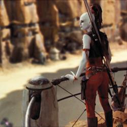 Aurra Sing beobachtet vom Canyon aus das Rennen