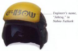 Jabesqs Helm mit seinem Namen in der Futhork-Schrift