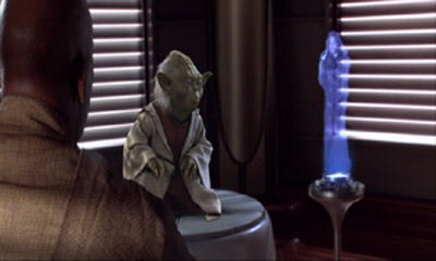 Obi-Wan (Hologramm) spricht via Code 5 mit Mace Windu und Yoda