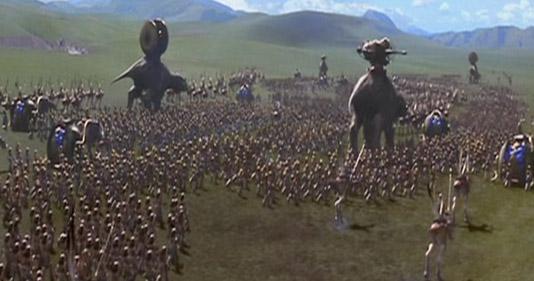 Die Armee der Gunganer marschiert auf