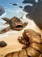 Eine K'lor-Schnecke bedroht einen Kirithin an einem Strand auf Noe'ha'on