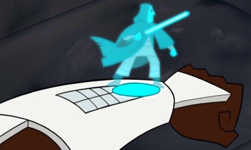 Meister Barrek als Hologramm auf Obi-Wan Kenobis Arm
