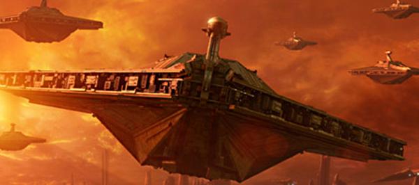 Acclamator-Schiffe starten von Coruscant.