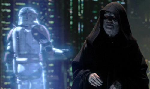 Kanzler Palpatine erteilt Commander Cody (Hologramm) Order 66