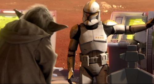 Yoda erteilt einem Klon-Commander in der Schlacht um Geonosis Anweisungen.