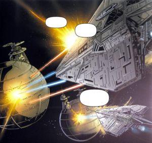 Die Schiffe der Republik greifen die Flotte der Separatisten an.