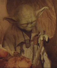 Yoda mit seinem Gimer-Stock