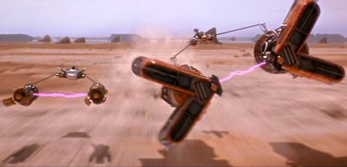 Sebulba und Anakin Skywalker duellieren sich auf der Hutten-Ebene