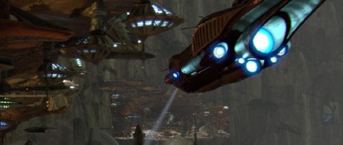 Ein Republikanisches Angriffskanonenboot auf Utapau sucht nach Obi-Wan Kenobi.