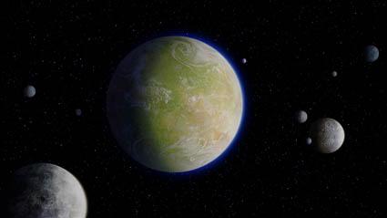 Utapau mit seinen sieben Monden