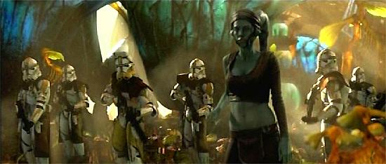 Aayla Secura (vorne) und die Soldaten des 327. Sternenkorps auf Felucia.