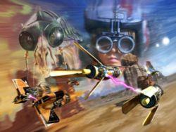 Die Podracer-Piloten Sebulba und Anakin Skywalker