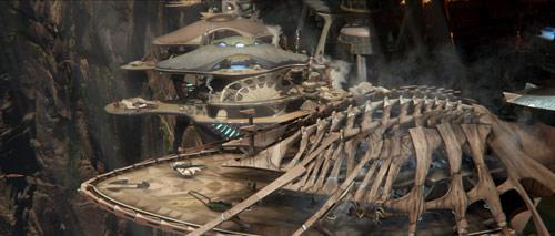 Ossik-Architektur: Das Dach der Plattform ist aus den Knochen von Ruhau-Walen gemacht