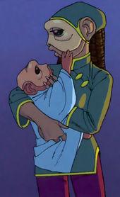 Eine Sullustanerin mit einem Baby