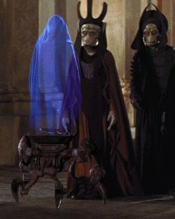 Der Mechno-Stuhl spielt eine Nachricht von Darth Sidious ab