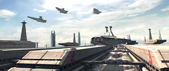 Schiffe der Venator-Klasse starten von Coruscant.