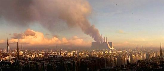 Rauch steigt vom Tempel der Jedi auf.