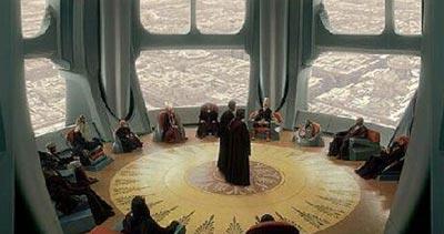 Der Jedi-Rat kommt im Tempel der Jedi zusammen.