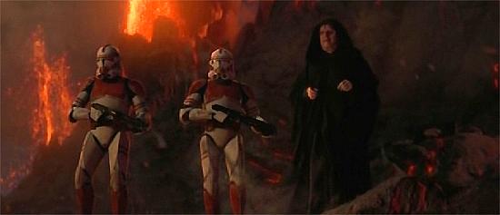 Imperator Palpatine (rechts) und zwei Shocktrooper auf Mustafar