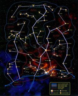 Eine Sternenkarte des Tapani-Sektors