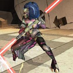 Darth Phobos mit ihrem Lichtschwert