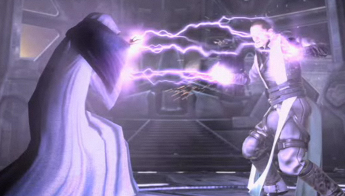 Galen Marek absorbiert die Sith-Blitze des Imperators