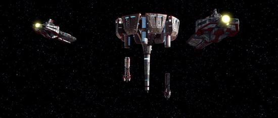 Republikanische Fregatten der Pelta-Klasse im Anflug auf das Kaliida-Medcenter