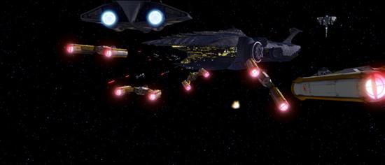 Die Schatten-Staffel greift die Malevolence vor dem Kaliida-Medcenter (hinten) an