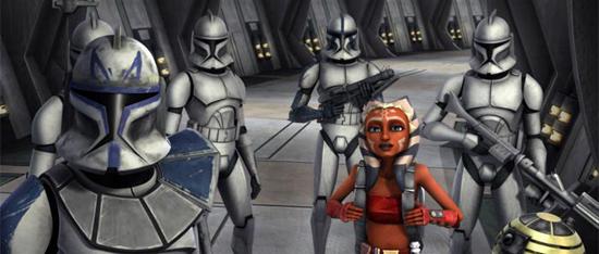 Ahsoka, Rex und die Klonsoldaten in der Skytop-Station.