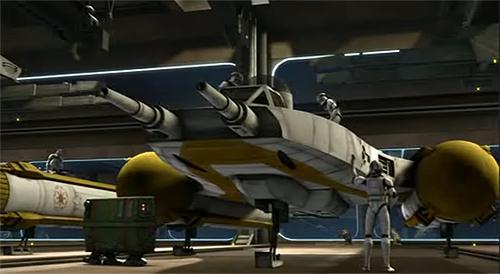 Die Klon-Piloten machen ihren Y-Wing einsatzbereit.