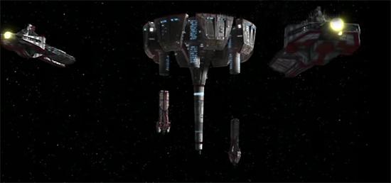 Med-Fregatten der Republik im Anflug auf das Kaliida-Medcenter