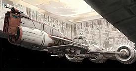 Eine Fregatte landet im Hangar eines Venator.