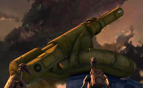 Zwei Kampfdroiden betrachten den Defoliator der KUS