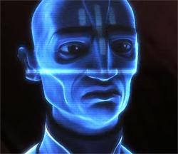 Ein Hologramm zeigt den Sprecher der Pantoranischen Volksversammlung.