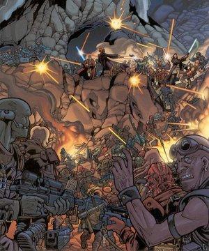 Truppen des Stark-Handels-Kombinats greifen die Stellungen der Republik an