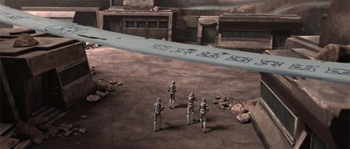 Vier Klontrooper erkunden das verlassene Nabat