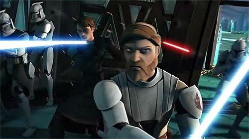 Anakin kommt mit seinen Truppen (hinten) Obi-Wan zu Hilfe