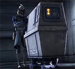 Captain Rex und ein Plunk-Droide der Rishi-Station