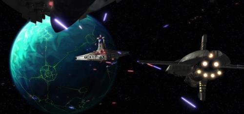 Die Hunter (hinten) wird von den Schiffen der Separatisten angegriffen
