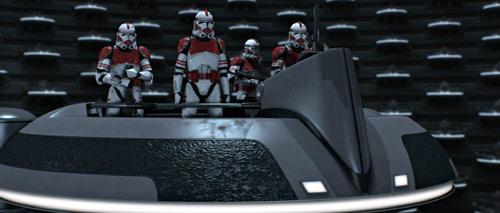 Thire (vorne) berichtet dass die Suche nach Yoda erfolglos verlaufen ist