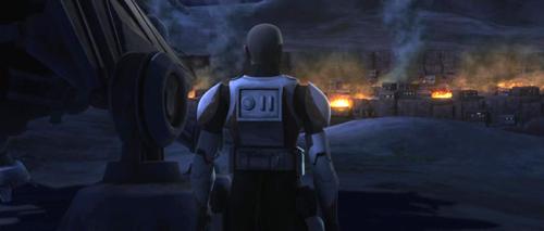 Commander Ponds betrachtet ein brennendes Dorf der Twi'leks.