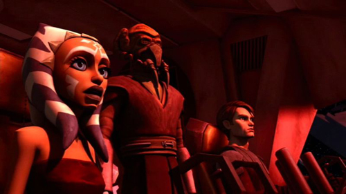 Ahsoka, Plo Koon und Anakin an Bord der Twilight im Abregado-System
