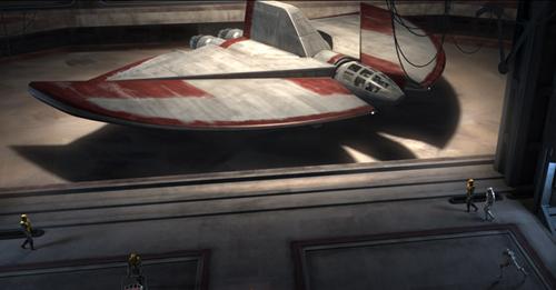 Ein T-6-Shuttle im Hangar eines Schiffs der Venator-Klasse