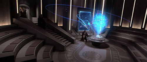 Der Kommunikationsraum des Jedi-Tempels.